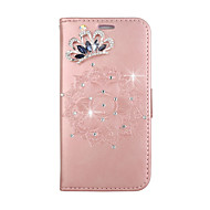 case voor apple iphone touch 5 touch 6 kaarthouder portemonnee kroon strass met tribune flip reliëf diy full body hoesje mandala hard pu