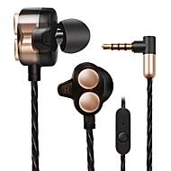 X7 En el oido Con Cable Auriculares Dinámica Aluminum Alloy Teléfono Móvil Auricular Dual Drivers Con Micrófono Confort Ergonómico