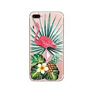 Недорогие Кейсы для iPhone 8-Кейс для Назначение Apple iPhone X iPhone 8 Прозрачный С узором Кейс на заднюю панель Фламинго Мягкий ТПУ для iPhone X iPhone 8 Pluss