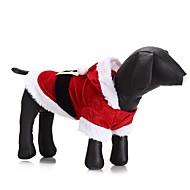 Kat Hond kostuums Jassen Hoodies Hondenkleding Feest Cosplay Casual/Dagelijks Houd Warm Bruiloft Halloween Kerstmis Nieuwjaar Effen Rood