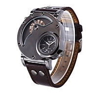 저렴한 -남성용 캐쥬얼 시계 패션 시계 드레스 시계 중국어 석영 큰 다이얼 가죽 밴드 멋진 브라운