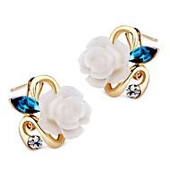 Women's Stud Earrings Hoop Earrings Crystal Rhinestone Classic Vintage Sweet Lovely Fashion Crystal Resin Alloy Flower Jewelry For Party