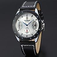 저렴한 -WINNER 남성용 드레스 시계 손목 시계 기계식 시계 오토메틱 셀프-윈딩 달력 가죽 밴드 캐쥬얼 멋진 블랙 브라운
