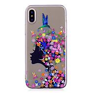 Кейс для Назначение iPhone X iPhone 8 iPhone 8 Plus IMD Прозрачный С узором Задняя крышка Соблазнительная девушка Цветы Мягкий TPU для