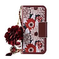 Недорогие Кейсы для iPhone 8-Кейс для Назначение Apple iPhone X iPhone 8 Бумажник для карт Кошелек со стендом Флип Магнитный С узором Своими руками Чехол Цветы Твердый