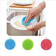 abordables Escobillas y cepillos de mano-cepillo de limpieza de silicona suave lavaplatos surtido de color