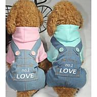 강아지 점프 수트 강아지 의류 캐쥬얼/데일리 문자와 숫자 블루 핑크 코스츔 애완 동물