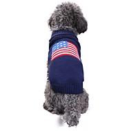 abordables Disfraces de Navidad para mascotas-Gato Perro Disfraces Abrigos Suéteres Ropa para Perro Bandera América / EE.UU. Azul Espándex Mezcla de Lino y Algodón Chinlon Disfraz