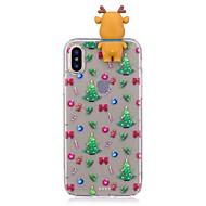 Недорогие Кейсы для iPhone 8-Кейс для Назначение Apple iPhone X iPhone 8 Plus Защита от удара Кейс на заднюю панель Рождество 3D в мультяшном стиле Мягкий ТПУ для