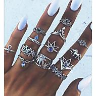 Mulheres Liga Anéis para Falanges - 1 Forma Geométrica Vintage / Importante Prata Anel Para Diário