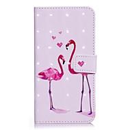 Недорогие Кейсы для iPhone 8 Plus-Кейс для Назначение Apple iPhone X iPhone 8 Кошелек Бумажник для карт со стендом Чехол Фламинго Твердый Искусственная кожа для iPhone X