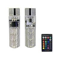 Недорогие Сигнальные огни для авто-1set 1.5w t10 6smd5050 rgb led дистанционное управление автомобиль лампа алмаз тип декорация dc12v