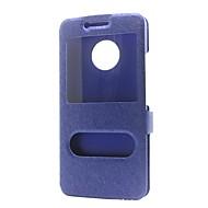 preiswerte Handyhüllen-Hülle Für Motorola G5 Plus G5 Geldbeutel mit Halterung mit Sichtfenster Flipbare Hülle Ganzkörper-Gehäuse Volltonfarbe Hart PU-Leder für