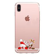 Недорогие Кейсы для iPhone 8-Кейс для Назначение Apple iPhone X iPhone 8 Прозрачный С узором Кейс на заднюю панель Рождество Мультипликация Мягкий ТПУ для iPhone X