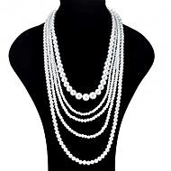 abordables Collares a Capas-Mujer En Capas Collares en capas - Perla Artificial Moda, Multi capa Blanco Gargantillas Joyas Para Fiesta, Noche