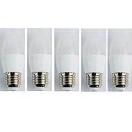 billige LED-stearinlyspærer-5pcs 4W 320lm E27 LED-stearinlyspærer C35L 6 LED Perler SMD 3528 Kold hvid 180-240V