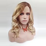 abordables Pelucas-Pelo sintético pelucas Ondulado Parte lateral Peluca natural Media Medium Brown / Blonde de la fresa