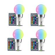 お買い得  LED ボール型電球-4本 3W 250lm E27 LEDボール型電球 3 LEDビーズ SMD 装飾用 リモコン操作 RGB +ホワイト 85-265V