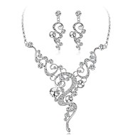 billige -Dame Diamant Kvadratisk Zirconium lille diamant geometrisk Smykkesæt Zirkonium, Sølvbelagt Blomst Damer, Elegant Omfatte Sølv Til Bryllup Aftenselskab / Øreringe