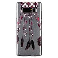 Недорогие Чехлы и кейсы для Galaxy Note-Кейс для Назначение SSamsung Galaxy Note 8 Полупрозрачный С узором Рельефный лакировка Кейс на заднюю панель Сияние и блеск  Перья