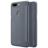 お買い得  携帯電話ケース-ケース 用途 OnePlus 5 フリップ つや消し オートスリープ/ウェイクアップ フルボディーケース 純色 ハード PUレザー のために One Plus 5 OnePlus 5T