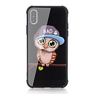 Недорогие Кейсы для iPhone 8 Plus-Кейс для Назначение Apple iPhone X iPhone 8 Защита от удара С узором Кейс на заднюю панель Сова Твердый Закаленное стекло для iPhone X