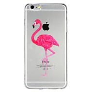 Недорогие Кейсы для iPhone 8-Кейс для Назначение Apple iPhone 6 iPhone 7 Полупрозрачный С узором Рельефный Кейс на заднюю панель Фламинго Мультипликация Животное