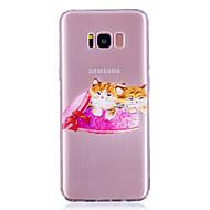 Недорогие Чехлы и кейсы для Galaxy S7 Edge-Кейс для Назначение SSamsung Galaxy S8 Plus S8 IMD Прозрачный С узором Кейс на заднюю панель Кот Мягкий ТПУ для S8 Plus S8 S7 edge S7 S6