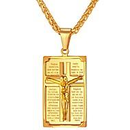 お買い得  -男性用 ペンダントネックレス  -  ステンレス鋼 十字架 クラシック ゴールド, シルバー ネックレス ジュエリー 1 用途 贈り物, 日常