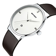 billige -Dame Armbåndsur Unike kreative Watch Simulert Diamant Klokke Japansk Quartz Kalender Vannavvisende Ekte lær Band Elegant Svart Brun
