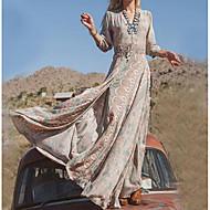 levne -Dámské Větší velikosti Dovolená Bavlna Swing Šaty - Etno, Tisk Maxi Do V