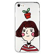 Недорогие Кейсы для iPhone 8 Plus-Кейс для Назначение Apple iPhone 6 iPhone 7 Полупрозрачный С узором Рельефный Кейс на заднюю панель Соблазнительная девушка Мультипликация