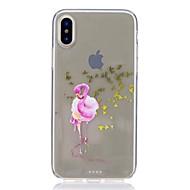 Недорогие Кейсы для iPhone 8-Кейс для Назначение Apple iPhone X iPhone 8 Защита от удара Ультратонкий С узором Задняя крышка Фламинго Мягкий TPU для iPhone X iPhone 8