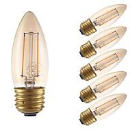 お買い得  -GMY® 6本 2W 160lm E26 フィラメントタイプLED電球 B10 2 LEDビーズ COB 調光可能 装飾用 LEDライト 温白色 110-130V