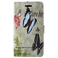 preiswerte Handyhüllen-Hülle Für Huawei P8 Lite Kreditkartenfächer Geldbeutel mit Halterung Flipbare Hülle Ganzkörper-Gehäuse Schmetterling Blume Hart PU-Leder