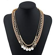 abordables Collares a Capas-Mujer Collares de cadena / Collares en capas - Perla Artificial Simple, Moda Dorado Gargantillas Joyas Para Fiesta, Regalo