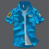 Hombre Militar Básico Camisa, Cuello Italiano Delgado Un Color Negro XXL / Verano