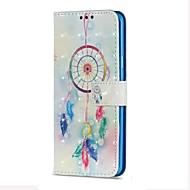 Недорогие Чехлы и кейсы для Galaxy S9 Plus-Кейс для Назначение SSamsung Galaxy S9 S9 Plus Бумажник для карт Кошелек со стендом Флип Магнитный Чехол  Перья Ловец снов Твердый Кожа PU