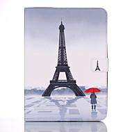 Недорогие Чехлы и кейсы для Samsung Tab-Кейс для Назначение Samsung Tab 4 10.1 Кошелек / Бумажник для карт / со стендом Чехол Эйфелева башня Твердый Кожа PU для Tab 4 10.1