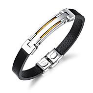 Herre Armbånd ID armbånd Læder Armbånd Læder Mode Armbånd Smykker Guld / Sort / Sølv Til Daglig I-byen-tøj