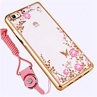 お買い得  携帯電話ケース-ケース 用途 Huawei P8 Lite 耐衝撃 ラインストーン バックカバー フラワー ソフト シリコーン のために Huawei P8 Lite