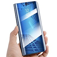 Недорогие Чехлы и кейсы для Galaxy A5(2017)-Кейс для Назначение SSamsung Galaxy A8 2018 A8 Plus 2018 со стендом Зеркальная поверхность Флип Авто Режим сна / Пробуждение Чехол