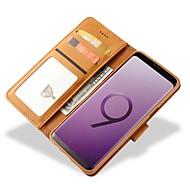 Недорогие Чехлы и кейсы для Galaxy S9-Кейс для Назначение SSamsung Galaxy S9 S9 Plus Бумажник для карт Кошелек Защита от удара Флип Чехол Сплошной цвет Твердый Настоящая кожа