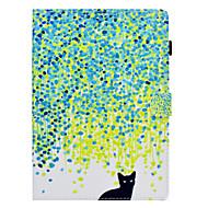 Недорогие Чехлы и кейсы для Galaxy Tab E 9.6-Кейс для Назначение SSamsung Galaxy Tab S2 9.7 / Tab E 9.6 / Tab A 10.1 (2016) Бумажник для карт / Защита от удара / со стендом Чехол Кот Твердый Кожа PU для Tab S2 9.7 / Tab E 9.6 / Tab A 10.1 (2016)
