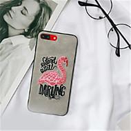 Недорогие Кейсы для iPhone 8-Кейс для Назначение Apple iPhone 6 Plus iPhone 7 Plus С узором Кейс на заднюю панель Фламинго Мягкий текстильный для iPhone 8 Pluss