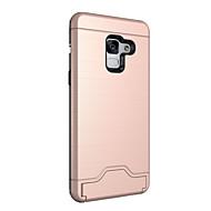 Недорогие Чехлы и кейсы для Galaxy А-Кейс для Назначение SSamsung Galaxy A8 2018 Бумажник для карт со стендом Кейс на заднюю панель Сплошной цвет Твердый ПК для A8 2018
