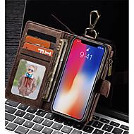 Недорогие Кейсы для iPhone 8-Кейс для Назначение Apple iPhone X / iPhone 8 Кошелек / Бумажник для карт / Защита от удара Чехол Однотонный Твердый Настоящая кожа для iPhone X / iPhone 8 Pluss / iPhone 8