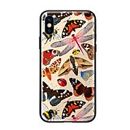Недорогие Кейсы для iPhone 8 Plus-Кейс для Назначение Apple iPhone X iPhone 8 С узором Кейс на заднюю панель Бабочка Твердый Закаленное стекло для iPhone X iPhone 8 Pluss