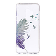 Недорогие Чехлы и кейсы для Galaxy S7 Edge-Кейс для Назначение SSamsung Galaxy S9 Plus / S9 IMD / С узором / Прозрачный Body Кейс на заднюю панель  Перья Мягкий ТПУ для S9 / S9 Plus / S8 Plus