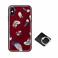 Недорогие Кейсы для iPhone 8-Кейс для Назначение Apple iPhone X iPhone 8 со стендом Ультратонкий С узором Кейс на заднюю панель Перья Твердый Закаленное стекло для